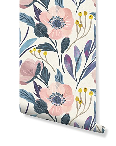 CostaCover Temporary Self Adhesive Wallpaper with Watercolor Floral Pattern on Paper Texture, Great for Bedroom & Living Room Wall Decor, Peel and Stick Application CC005 (35'' x 96'') ()