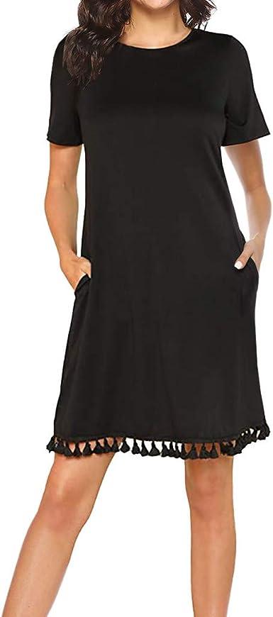 Women Botton Tunic Mini Dress ❤❤Summer Casual Scoop Neck Short Sleeve Solid Loose Short Beach Sundress
