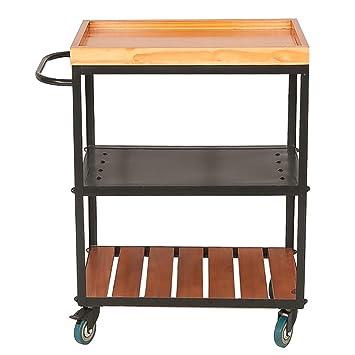 LPCG Serving Wine Cart Ruedas giratorias, Carro de Cocina Enrollable de 3 Niveles para Cocina