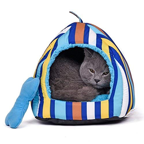 bluee L bluee L Gperw New Cat Dog Bed Sleep Bag Pet Babies Puppy Cave Bed (color   bluee, Size   M) Non Slip Cushion Pad (color   bluee, Size   L)