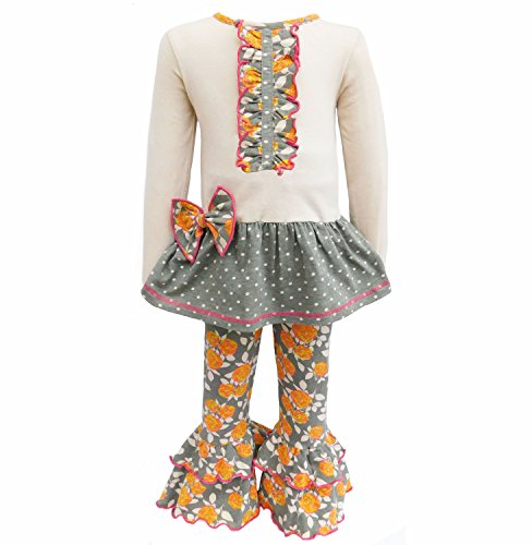 AnnLoren Little Girls 4/5T Boutique Fall Floral & Polka Dots Dress and Leggings