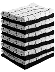 Utopia Towels Kitchen Towels (12 Pack, 15 x 25 Inch) Cotton - Machine Washable - Extra Soft Set of 12 Black White Dobby Weave Dish Towels, Tea Towels, Bar Towels