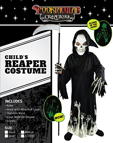 Amazon.com Spooktacular Creations Grim Reaper Glow in The Dark Deluxe Phantom Costume for Child Clothing : wow skeleton costume  - Germanpascual.Com