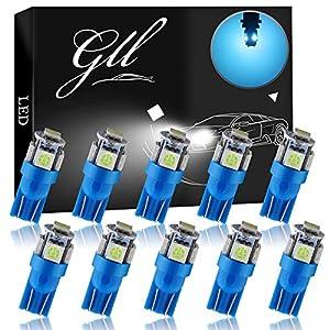 GLL T10 LED Bulbs Ice Blue W5W 501 LED Bulbs with 5050-5SMD 60 Lumens for Car LED Lights Bulbs Side Light Bulbs Number…