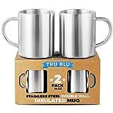 Taza de café de 410 ml – Juego de 2 jarras de café de acero inoxidable con doble pared aislante, a prueba de golpes, saludables y libre de BPA, aptas para lavavajillas