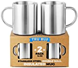 Coffee Mug - 14oz Insulated Set of 2, Shatterproof, Healthy & BPA Free Stainless Steel, Dishwasher Safe