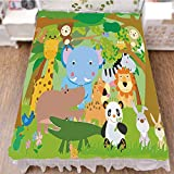 iPrint Bed Skirt Cover 3D Print,Animals Wildlife Mammals Trees Flowers Colorful,Best Modern Style Bed Skirt for Men and Women by 59''x78.7''
