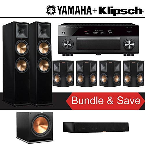 Klipsch RP-280F 7.1-Ch Reference Premiere Home Theater System (Piano Black) with Yamaha AVENTAGE RX-A2070BL 9.2-Channel Network A/V Receiver