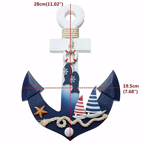 Wooden Nautical Ocean Sea Beach Anchor Mediterranean Style House Shop Decoration Crafts Wall Hanging Hook Life Buoy Fish Star Hanger Home Decor by Jardyn & Maison