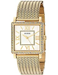 GUESS Womens U0826L2 Dressy Gold-Tone Watch with White Dial , Crystal-Accented Bezel and Mesh G-Link Band