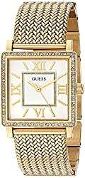 Guess Women's U0826l2 Dressy Gold-tone Watch With White Dial , Crystal-accented Bezel & Mesh G-link Band