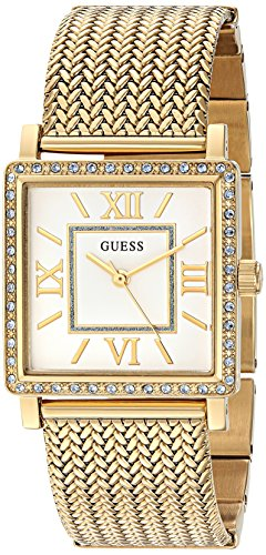 GUESS Women's U0826L2 Dressy Gold-Tone Watch with White Dial , Crystal-Accented Bezel and Mesh G-Link Band
