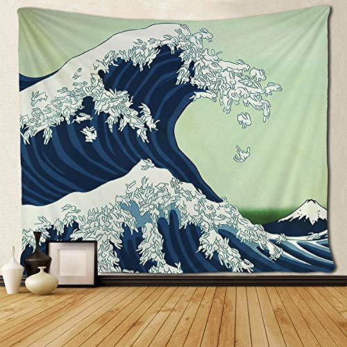 SARA NELL Wall Tapestry The Great Wave Off Kanagawa Funny Bunny Rabbit Wave Tapestries Hippie Art Wall Hanging Throw Tablecloth 50X60 Inches for Bedroom Living Room Dorm Room