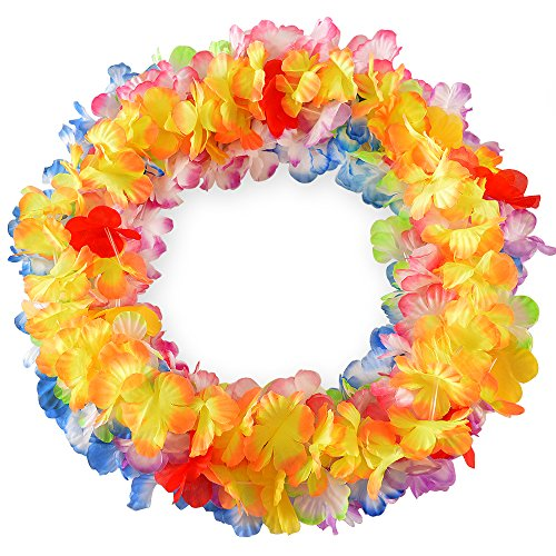 Hawaiian Plumeria Leis - Hawaiian Leis Flower Necklace Party- (36 COUNT) Tropical Soft Silk Graduation Lei Premium Luau Supplies, Vibrant Leys and Multi-Colored Favors, Fun Lay Decorations for Children's Fun