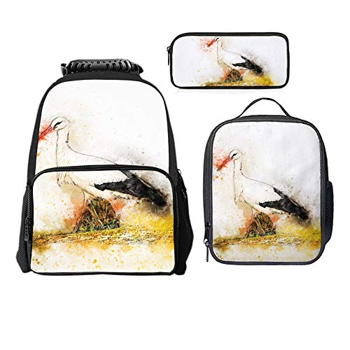 SARA NELL Stork Animal Watercolor Boys Girls Backpack Daypack Set 3 Pieces School Bookbag Lunchbox Pencil Bag