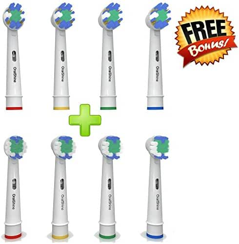 The Ultimate Oral B Braun Replacement Best Electric Toothbrush Heads (8) By OralShine | 4 Complimentary Soft Brush Heads Plus 4 Regular Heads | Remove Plaque And Decrease Gingivitis