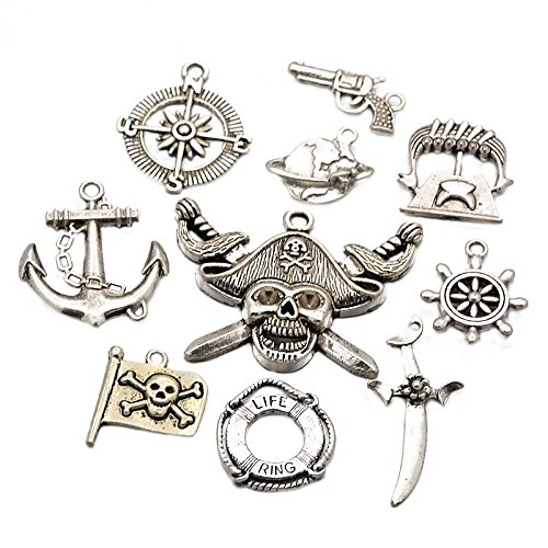 Pandahall 10PCS Mixed Nautical Theme Pirate Style Tibetan Silver Alloy Pendants, Lead Free, Antique Silver