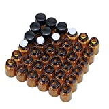 Essential Oil Bottles,Htianc Oil Bottles for Essential Oils,36 Pcs 2 ml Amber Glass Vials Bottles, with Orifice Reducers and Black Caps,with 2 Free Glass Transfer droppers