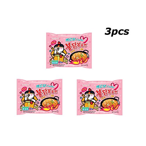 Spicy Fried Chicken (3 pcs Samyang Carbo Buldak Nuclear Fire Fried Chickeb Super Hot Spicy Noodle ~130g/0.3pound Instant Food Ramen Limited Edition)