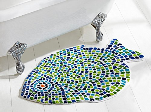 Better Trends / Pan Overseas Fish Mosaic Bath Rug, 24'' x 36'', Multicolor by Better Trends / Pan Overseas