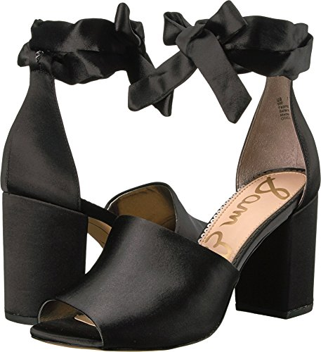 Sam Edelman Women's Odele Heeled Sandal, Black Satin, 8 Medium US