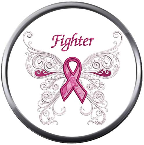 Artistic White Butterfly of Hope Breast Cancer Support Awareness Pink Ribbon 18MM - 20MM Snap Jewelry Charm