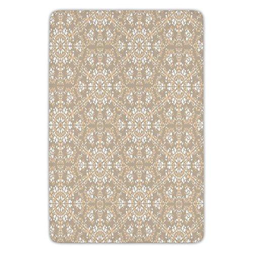 Bathroom Bath Rug Kitchen Floor Mat Carpet,Mosaic,Antique Roman Time Inspired Rock Design with Circled Modern Lines Image Print,Tan Peach White,Flannel Microfiber Non-slip Soft - Mosaics Bath Roman