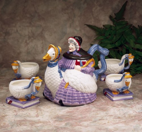 Mother Goose Storybook Handpainted Ceramic Teapot and 4 Tea Cups