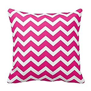 Hot Pink Chevron Stripe Pillow Covers 16x16 Inch Square Cotton Throw Pillow Case Decor Cushion Covers