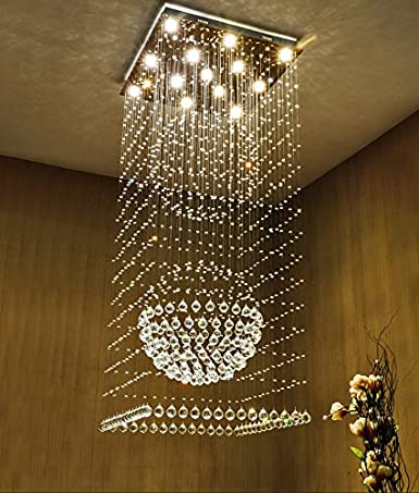 Nice Moooni Modern Large Crystal Chandelier Lighting Raindrop Square Ceiling  Light Fixture For Staircase Porch Hallway D23
