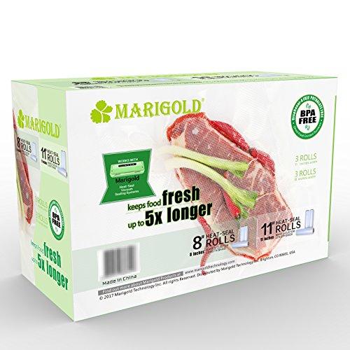 MARIGOLD Food Vacuum Seal Rolls 6-Pack for Food Preservation & Sous Vide Cooking
