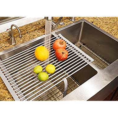 Stainless Steel Roll-up Folding Drying Rack Colander 20.5  X 12.5  Wide w/ Built on Hook and Loop Fastening Rack Tie (Glossy Grey on Stainless steel Rod)