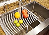 Stainless Steel Roll-up Folding Drying Rack Colander 20.5'' X 12.5'' Wide w/Built on Hook and Loop Fastening Rack Tie (Glossy Grey on Stainless steel Rod)