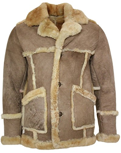 Men's Designer Long Winter Real Sheepksin Fur Coat L