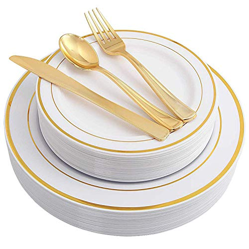 (750 Pieces Plastic WHITE w/GOLD Band China Plates and Gold Silverware Combo for 150 people)