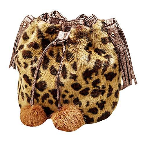 YAOSEN Women Faux Fur Bucket Bag Plush Drawstring Shoulder Bag Crossbody Bag with Pompon (Leopard)