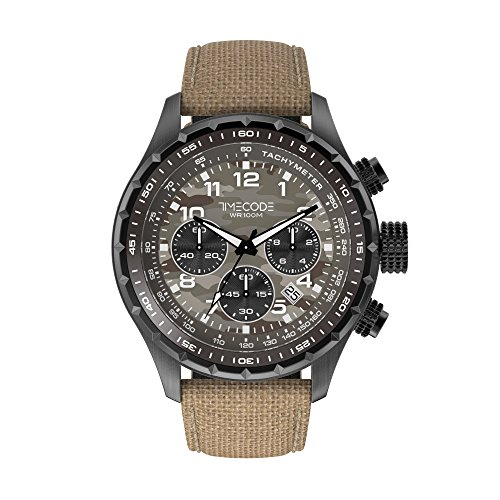 Timecode Sputnik 1957 TC-1011-16 49mm Men's Watch Beige Camouflage dial Beige Fabric Date Chronograph