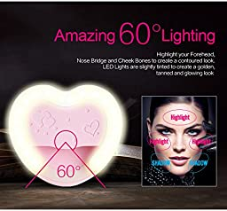 Breezesmile Selfie Lights [38 LED] Ingenious Clip On Selfie Ring Light with Makeup Mirror [Rechargeable] Cute Heart Shaped for iPhone iPad Sumsung Galaxy Enhancing Photography Photos/Videos - Pink