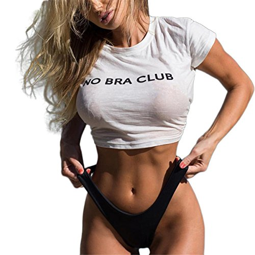 KESEE Clearance! Sexy Bra Vest Blouse Women Casual Short Sleeve Letter Printed T-Shirt : No Bra Club (M, White)