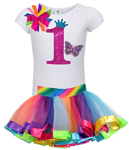 Bubblegum Divas Baby Girls 1st Birthday Butterfly Shirt Rainbow Tutu (Glitter Bubble Dress)