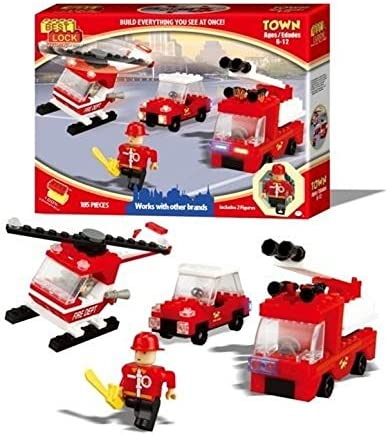 with 1 Helicopter 3 Figures and Accessories Best-Lock Fire Fighters Set 2 trucks 193 pieces