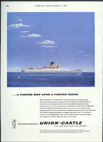 A painted Ship upon a Painted Ocean RMS Windsor Castle Union-Castle ad 1961
