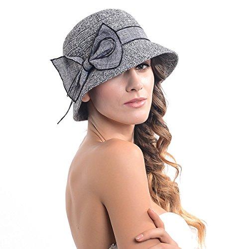 Women's Contton & Linen Thread Cloche Hat with Bow