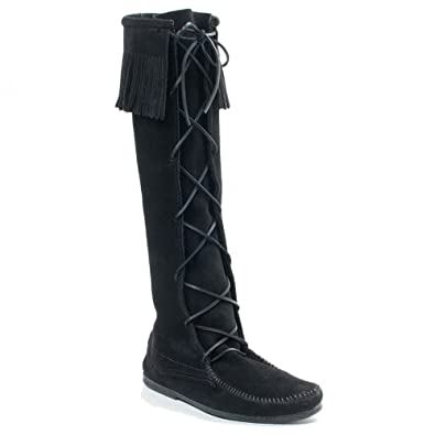 Minnetonka Men's Front Lace Knee High Boot,Black,7 ...
