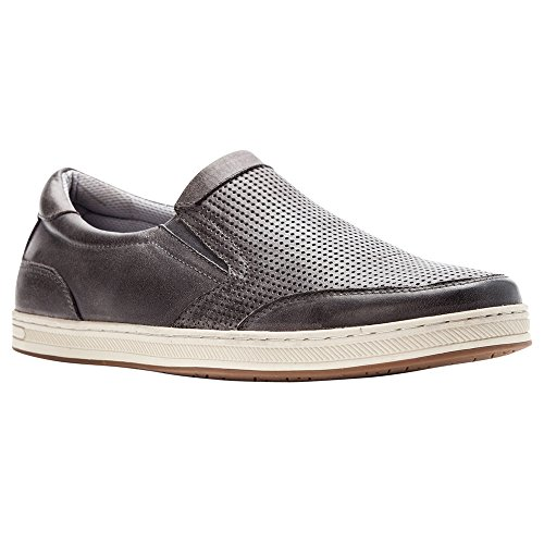 Propet Men's Logan Slip On Sneakers, Grey Nubuck, Nylon, Polyurethane, Rubber, 8.5 XX-Wide - Logan Leather Shoes