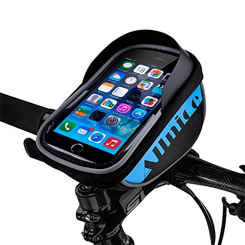 Allnice U Type Design 5.5 Waterproof Toucscreen Mountain Bike Road Bicycle Cycling Front Frame Bag Tube Pannier Saddle Bag Fit iPhone 6 Plus/iPhone 6 / Galaxy Note2 / Galaxy S5 etc (Blue)