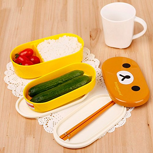 by HappyChef Brown Cover+Yellow Box Lovely High Heat Resistance Double Layers Chopsticks Plastic Bento Lunch Box