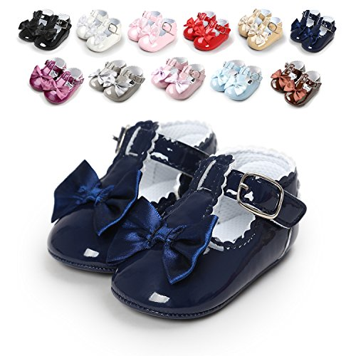 Infant Navy Blue Light - Sabe Infant Baby Girls Soft Sole Prewalker Crib Mary Jane Shoes Princess Light Shoes (6-12 Months Infant, A-Blue)