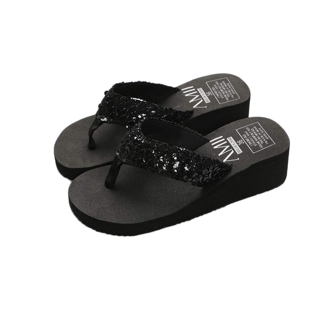 dc16bd652ecbe9 Amazon.com  Goddessvan Women s Summer Sequins Slipper Flip Flops Anti-Slip  Thongs Flat Sandals  Clothing