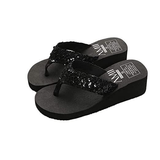 39333f79c316ad Goddessvan Women s Summer Sequins Slipper Flip Flops Anti-Slip Thongs Flat  Sandals (US